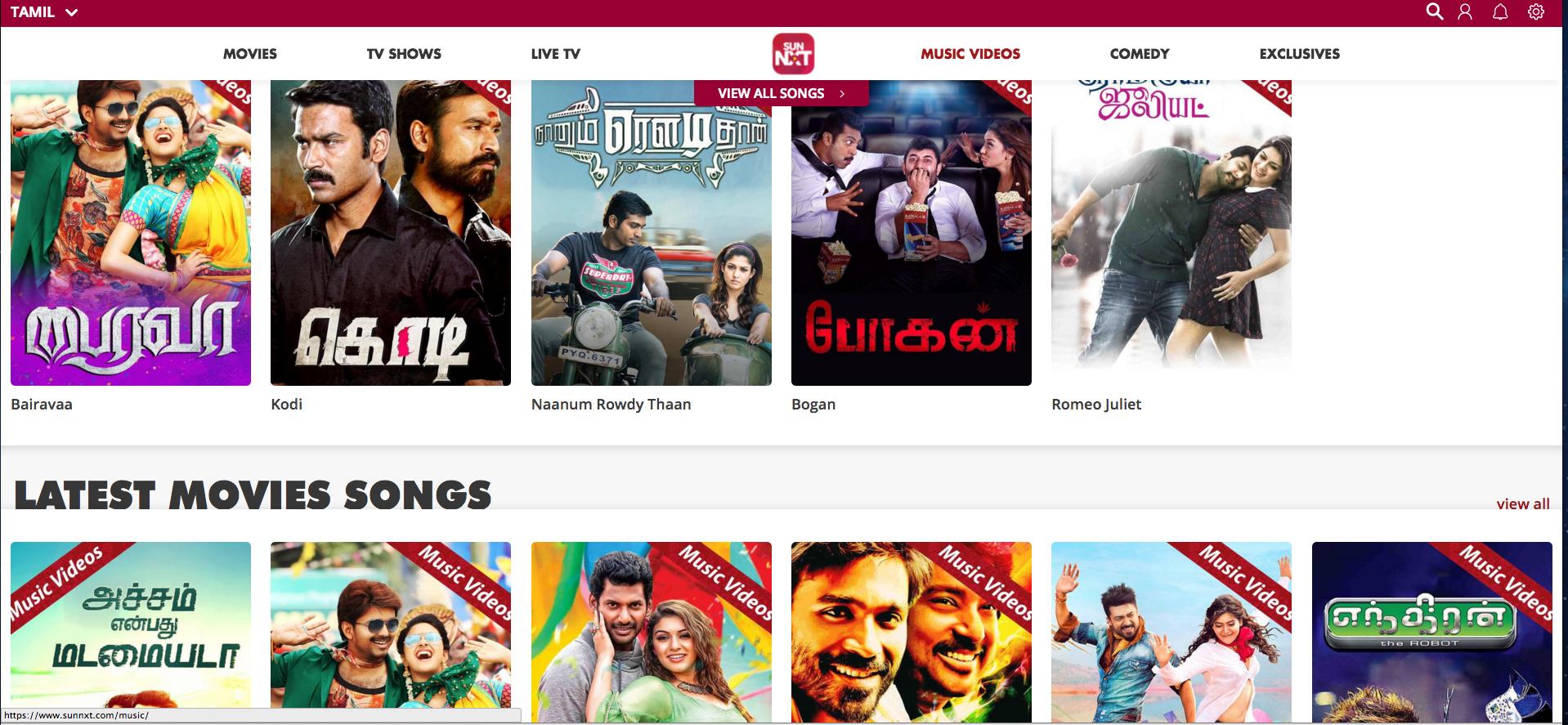 Tamil Videosongs - SunNXT - HD videosongs SunNXT